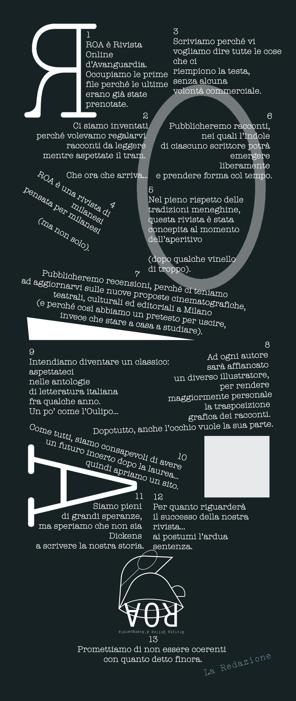 non Manifesto ROA futurista negativo web recensioni racconti tazza di caffè milanese nuovo logo roa rivista online avanguardia gratuita